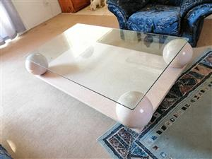 Glass top marble table