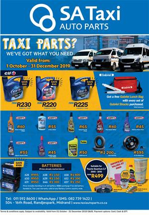 Taxi Parts? We've got what you need - SA Taxi Auto Parts quality NEW and USED spares