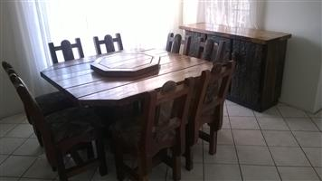 8 Seat Sleeper Wood Dining Suite (incl 8 chairs and sideboard)