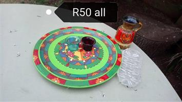 Colored plate,shot glasses and jug