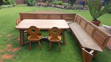 Solid oak dining set with bench and chairs