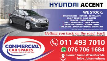 New Hyundai Accent 2012- Body Parts And Spares For Sale At Car Spares