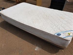 Very long single bed base and mattress
