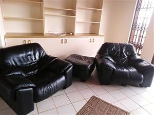 Real black leather couches.