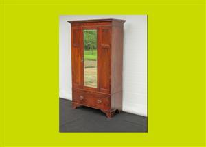 Edwardian Mahogany Single Mirrored Door Wardrobe - SKU 667