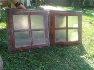 Wooden windows small x 2, glassed