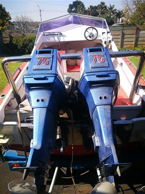 YAMAHA 75HP, SUPERSKI, RED AND WHITE, TWIN CUTBOARDS