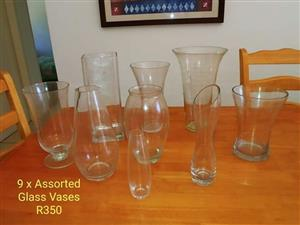 9 assorted glass vases