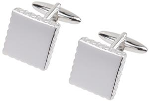 RHODIUM PLATED CUFF LINKS 'SQUARE WITH RIBBED EDGE!! GREAT DEALS AMAZING VALUE!