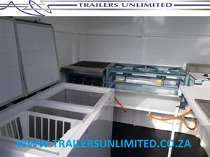 3000 X 1800 X 2000 MOBILE KITCHEN WITH GAS FRIDGE FREEZER COMBO.