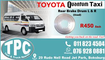 Toyota Quantum Rear Brake Drum -Used - Quality Replacement Taxi Spare Parts.