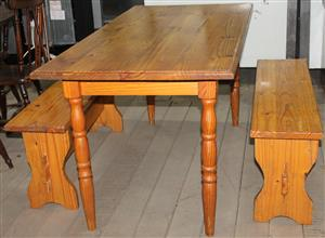 S034326A Table with 2 bench #Rosettenvillepawnshop