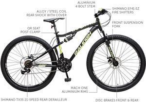 "RALEIGH 29"" VAPOR FRS MOUNTAIN BIKE BLACK/YELLOW - EXCELLENT BUY FOR CHRISTMAS !!!"