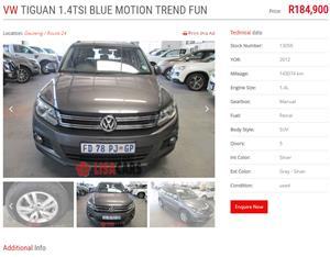 2012 VW Tiguan 1.4TSI Trend&Fun