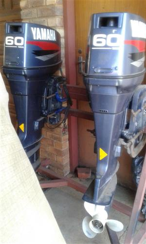 2x 60 perdekrag Yamaha boat engines for sale