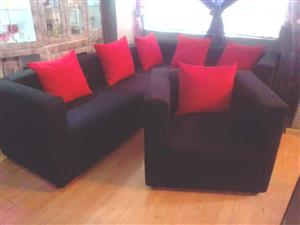 Black L shape with matching chair