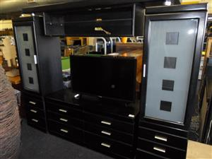 Wooden 4pc. Glass TV Wall Unit