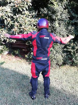 Two piece leather racing suit
