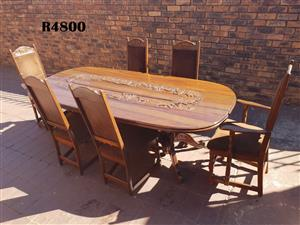 Antique Carved 6 Seater Teak Dining Table and Chairs (2300x1070x750)