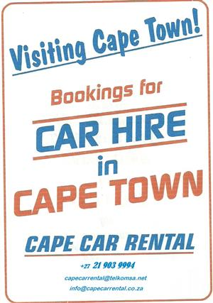 visiting Cape Town  ?  Cape Car Rental - R 250.00 / day