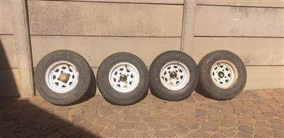 Four Trailer  rims and tyres 10""