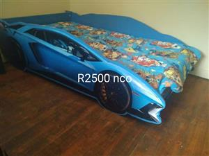 Toddler blue car bed for sale