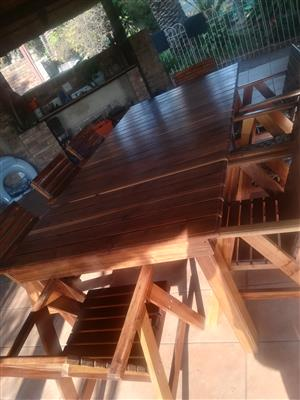 8 seater kiaat wood patio set