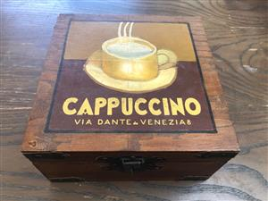 "Quaint ""Cappuccino"" Wooden storage box - priced to clear"