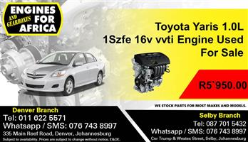 Toyota Yaris 1.0L 1Szfe 16v vvti Engine Used For Sale