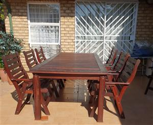 SOLID WOOD 8 SEATER PATIO SET