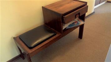 Telephone table, solid teak