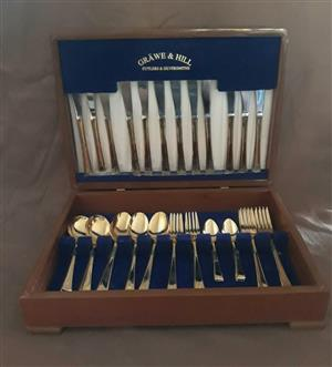 Grawe & Hill : Gold Plated 50 Piece Cutlery Set