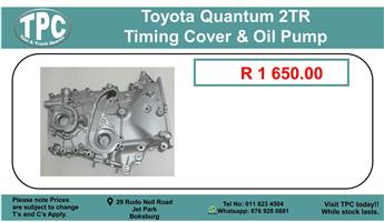Toyota Quantum 2Tr Timing Cover & Oil Pump For Sale.