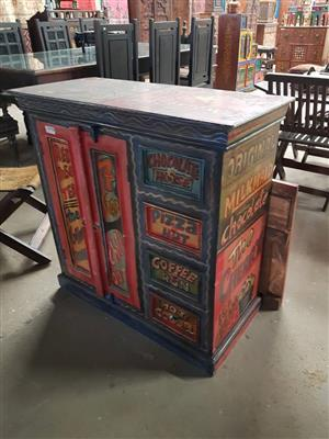 Food and beverage painted cabinet