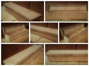 Patio bench with storage Farmhouse series 2500 Raw