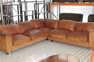 Leather L-shaped couch S030298A #Rosettenvillepawnshop