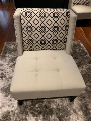 White Argo patterned back chairs for sale