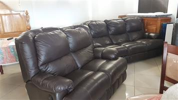 6 seater Alphine Leather lounge suite full hide