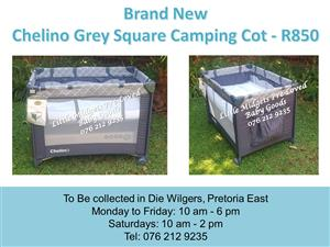Brand New Chelino Grey Camping Cot (Mattress available at R350 extra)
