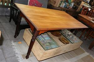 Beautiful 6 Seater Yellow Wood Table with Stink Wood Legs