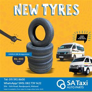 NEW Taxi Tyres - 195R15 Blackwall Bridgestone - Taxi Auto Parts - TAP