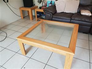 Light wooden glass top coffee table