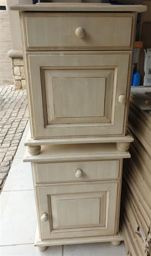 Bed side pedestal, headboard and chairs
