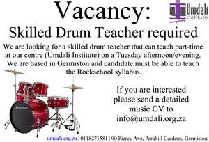Skilled Part-time Drum Teacher required