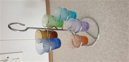 Shot Glass Tower Multicolour Sandblasted Glasses x6