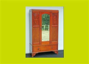 Edwardian Inlaid Mahogany Single Mirrored Door Wardrobe - SKU 668
