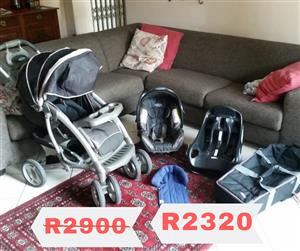 Graco pram and bucket for car