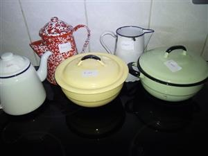 Enamel dishes with lids for sale