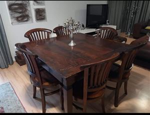 6 seater Solid dining room table and chairs