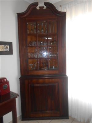 Well Kept Solid yellow wood and black wood corner cabinet !!!